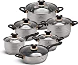 Edënbërg Classic Line – Juego de ollas con tapa – Base de 5 capas – Batería de cocina de acero inoxidable – Inducción – Apto para lavavajillas – 12 piezas