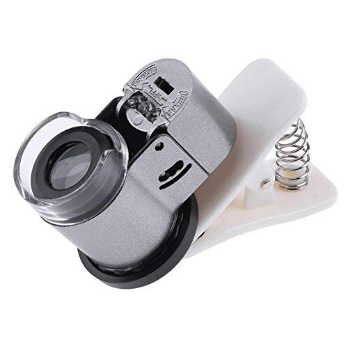 65X Clip-On Phone Microscope Magnifier with LED/UV Lights for Universal SmartPhones iPhone Samsung HTC Magnifier