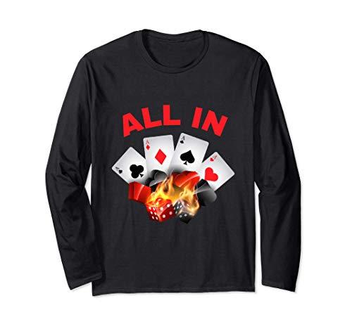 All In - Carte Poker - Joueur Table Casino - Amoureux Jeu Manche Longue
