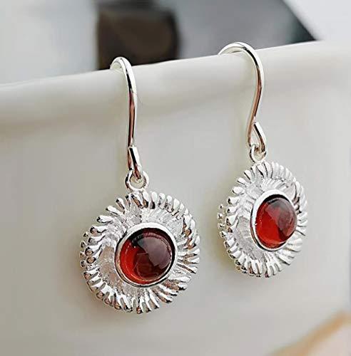 XAFXAL Pendientes De Mujer,Bohemian Vintage 925 Silver Pequeño Zouju Rojo Granate Natural...