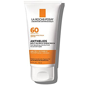 La Roche-Posay Anthelios Melt-In Sunscreen Milk Body & Face Sunscreen Lotion Broad Spectrum SPF 60 Oxybenzone Free Oil-Free Sunscreen Water Resistant