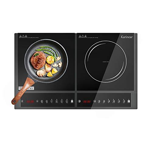 Karinear Plaque induction 2 feux - Tables de cuisson à induction avec contrôle bouton, arrêt automatique, Minuterie, Verrouillage pour enfants, Affichage LED - 598 * 360 * 65mm - 3600w