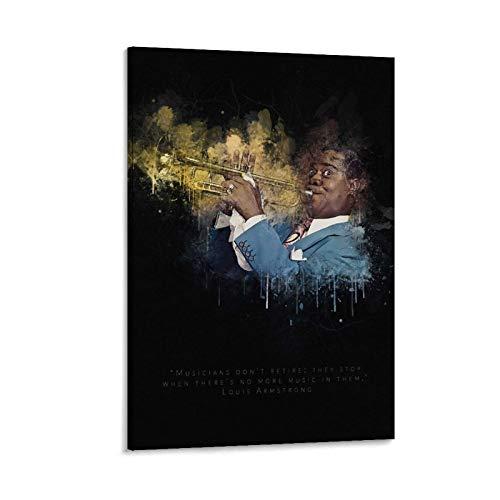 Poster mit Musikern Louis Armstrong USA Trompeter Kunstdruck, Leinwand-Kunst, Poster und Wandkunst, moderner Familienschlafzimmerdekor, 30 x 45 cm