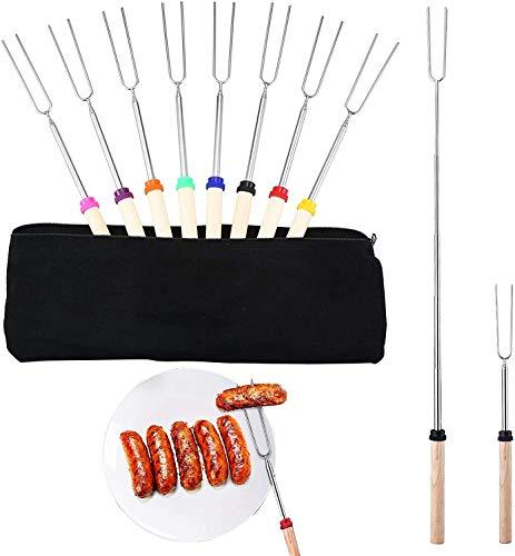 EVAE Juego de 8 tenedores para barbacoa, malvavisco con mango de madera, para fogatas extensibles de acero inoxidable