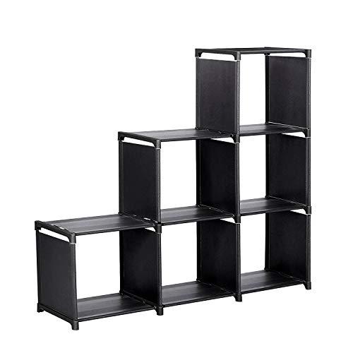 Meerveil Offenes Schuhregal, Stoff Schuhschrank Bücherregal Organizer für Wohnzimmer und Schlafzimmer Schwarz