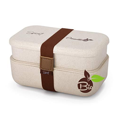 Spice Amarillo Bio Duo Boîte à bento chauffante, Portable, Isotherme, matériau écologique Naturel, sans BPA, capacité 1,2 L, crème, 1200 ML