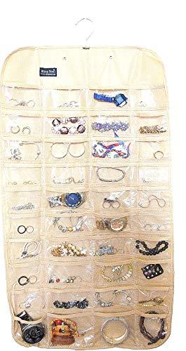 Blingsoul Organizador de joyas colgante con 80 bolsillos, collar, pulsera, almacenamiento de banda para el pelo, soporte y organizador, pantalla transparente de joyería de bolsillo (beige)