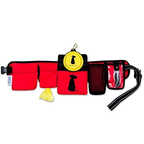 FreshStart DogiPack Hands Free and Organizational Dog Walking Belt (Red)