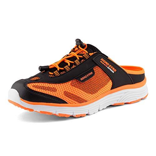 Fusskleidung Damen Herren Sabots Sneaker Sportschuhe Slip-On Clogs Pantoletten Freizeit Sandalen Schwarz Orange EU 44