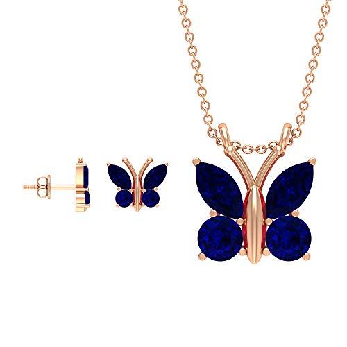 Rosec Jewels 10 quilates oro rosa redonda marquesa Blue Blue Sapphire