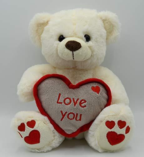 ML Oso de Peluche con un Corazon con Frase romantica Love You y Huellas de Corazon Oso DE Peluche para Bebe de 35cm (Blanco)