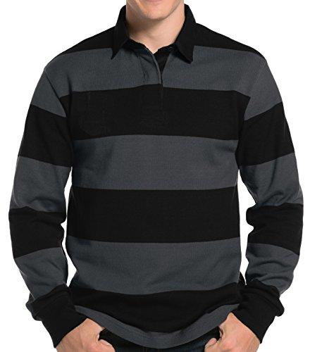 Mens Long Sleeve Rugby Polo Shirt, XL Black/Graphite Grey