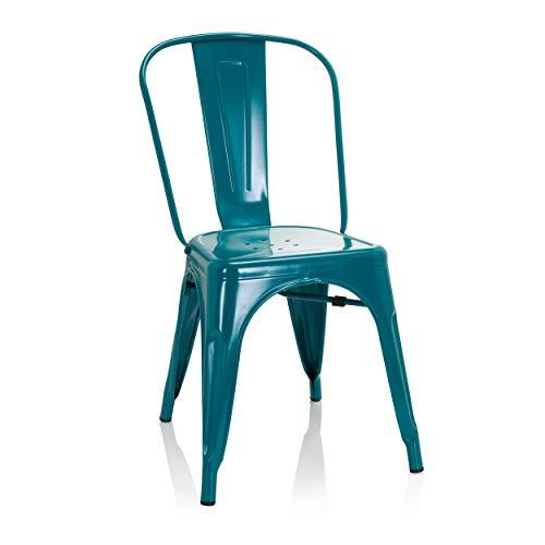 hjh OFFICE Vantaggio 645052 Comfort - Silla de bar (metal), color azul petróleo