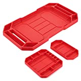 BSTKEY Set of 3 Flexible Silicone Repair <span class='highlight'>Tool</span> Tray - Multi Purpose Socket Organizer Mat Grip Mat <span class='highlight'>Tool</span> Mat <span class='highlight'>Tool</span> Storage Holder (Red)