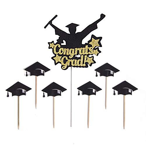 SUNBEAUTY Graduation Kuchen Dekoration Cake Picks Graduierung Cupcake Toppers Kuchendeko Abschlussfeier (7er Set)