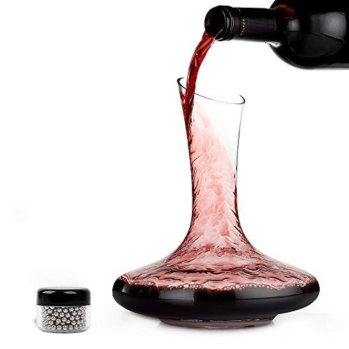 Prima Decantador de Vino de Cristal - Calidad Jarra de Vidrio de Vino con Accesorios - Pico Inclinado a Prueba de derrames, Base Ancha para una Mejor aireación| Elegante Set de Regalo.