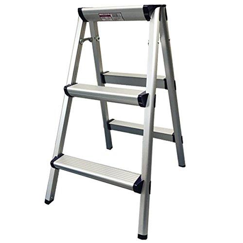 アルミ 踏み台3段 脚立 折りたたみ ステップ台 はしご KF-DA03 【高さ約78cm×天板約33cm×幅46cm]