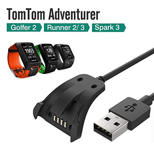 LUXACURY TomTom Spark/Spark 3 Runner 2 3/Adventurer Ersatz-Ladekabel USB Datenkabel Clip für TomTom Adventurer TomTom Golfer GPS Fitness Laufuhr Ladestation
