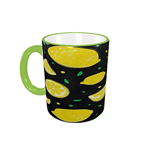 Taza de café Tazas de café con Lunares de limón y Fruta Amarilla Tazas de cerámica con Asas para Bebidas Calientes - Cappuccino, Latte, Tea, Cereal, Coffee Gifts 12 oz Orange