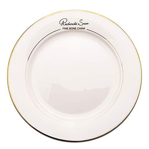 ELLENS Cerámica Placas de Cena, clásico Nórdico Redondo Blanco de la Porcelana porción Platos con Oro línea de Borde de Carne Ensalada de Pasta (6/7/8/9/10/12 Pulgadas)
