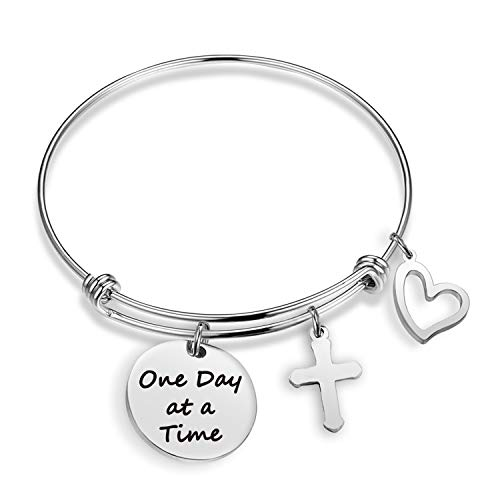 Sobriety Bracelet Christian Bracelet One Day at a Time Addiction Recovery Inspirational Jewelry Motivational Gifts Religious Jewelry Memorial Bracelet(One Day-BR)