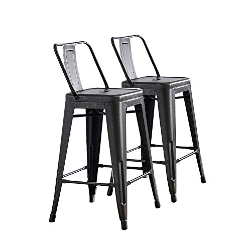 "AC Pacific Modern Industrial Metal Barstool with Bucket Back and 4 Leg Design, 24"" Seat Bar Stools (Set of 2), Sanded Matte Black / Brushed Rusty Gold"