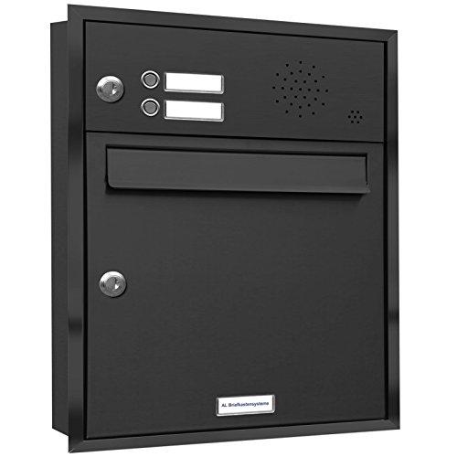 AL Briefkastensysteme, 1er Unterputzbriefkasten mit Klingel in Anthrazit Grau RAL 7016, 1 Fach wetterfeste Briefkastenanlage Design modern
