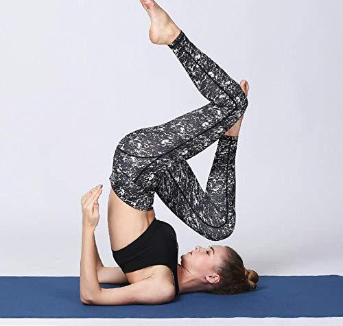 Fondo Negro Patrón Blanco Pantalones De Yoga De Cintura Alta para Mujer Vientre Cerrado Fitness Running Daily Casual Pantalones-M