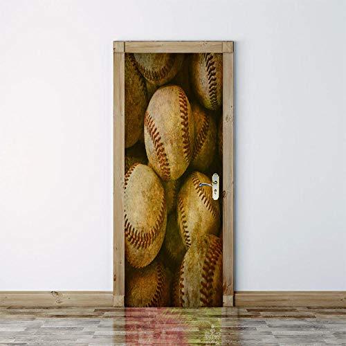 Smhchh Türaufkleber Abnehmbare Baseball 3D Bewirken Fototapete Türfolie Poster Tapete Abnehmbar Wandtapete Für Wohnzimmer Küche Schlafzimmer.88X200Cm