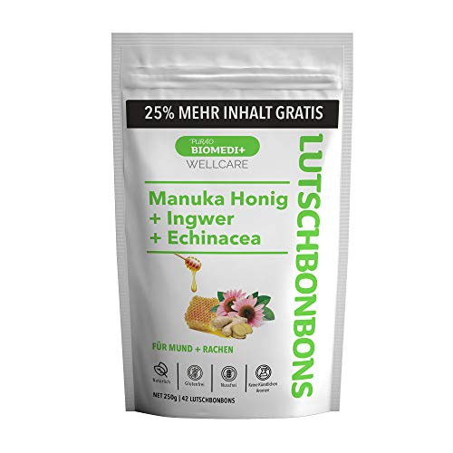 Purao Biomedi+ Manuka Honig Lutschbonbons mit Ingwer + Echinacea +25% mehr Inhalt gratis - wohltuend für Mund und Hals, 42 Bonbons (250g) im wiederverschließbaren ZIP Beutel