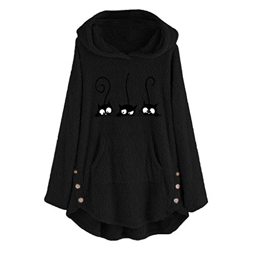 Zilosconcy Blusa para Mujer con Bordado de Gato de Felpa Talla Grande Sudadera con Capucha cálida botón suéter Chaqueta (Ropa)