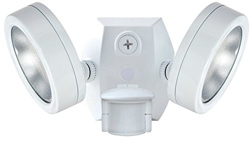 RAB Lighting SMSLES2X13NW Two Adjustable LED 26 Watt Floodlight with 180-Degree Detection Motion Sensor, White