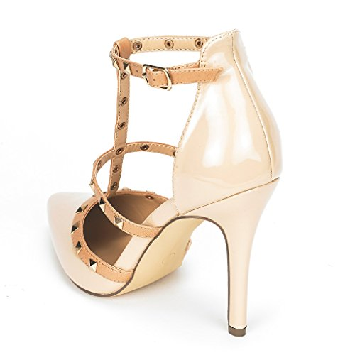 DREAM PAIRS ROCKSTAR-HIGH Women's D'Orsay Style Metal Studs Pointy Pumps Classic Stiletto Heel Shoes New Nude-Patent Size 9
