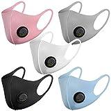 NUÜR 5 máscaras faciales reutilizables, con válvula de aire y trabillas para las orejas, transpirables, suaves, lavables, duraderas para uso público diario