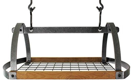 Enclume Decor Oval Ceiling Pot Rack with Alder, Hammered Steel