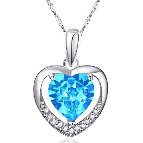 Latigerf Damen Halskette Für Immer Liebe Herz Anhänger Rhodium Plated 925 Sterling Silber Kristall Blau
