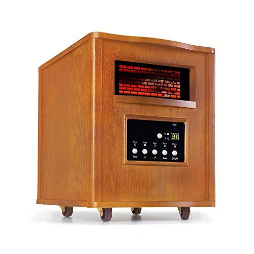 Klarstein Heatbox Infrarotheizung - mobile Heizung, Heizgerät, 1500 Watt Leistung, 15-30 °C, 12h-Timer, AntiDryAir Heat, 3 Leistungsstufen, 4 Bodenrollen, inkl. Fernbedienung, Eiche, braun