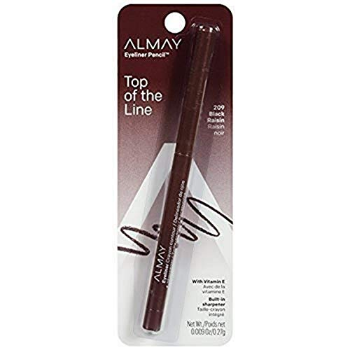 Almay Top Of The Line Eyeliner Pencil, Black Raisin [209], 0.009 oz (Pack of 2)