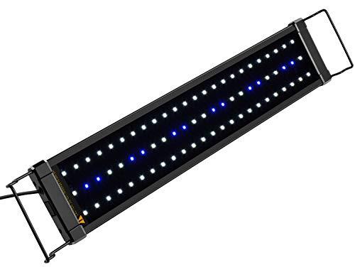 NICREW Illuminazione per Acquario, Plafoniera LED Acquario Dolce, Lampada LED per Acquario Luce Acquario 53-83 cm, 11W, 7000K, 640LM