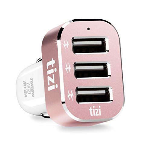 equinux Tizi Turbolader 3X Mega (7,2A Rose Gold) - Caricabatterie per Veicoli con 3 USB con technologia Auto Max Power per Auto, Tre Porte High Power USB indipendenti dal Fabbricante (Fino a 2,4 A)