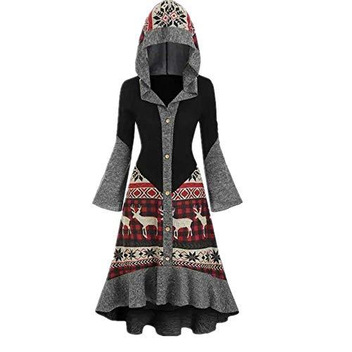 N\P Vestido de Navidad para mujer de talla grande con capucha de alce de invierno con capucha de alto bajo volante, vestido de punto flojo de señoras vestidos de fiesta