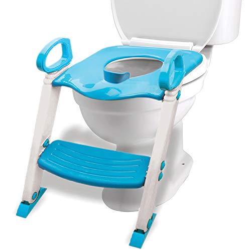 Potty Training Seat Toilet w/Step Stool Ladder & Splash Guard, Kids Toddlers Trainer w/Handles. Sturdy & Foldable. Non-Slip Steps & Anti Slip Pads. Adjustable Potty Chair - Boys Girls Baby (Blue)