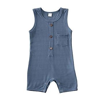 iddolaka Newborn Summer Baby Boy Girl Romper Bodysuit Jumpsuit Playsuit One Piece Outfit Clothes  Blue 18-24 Months