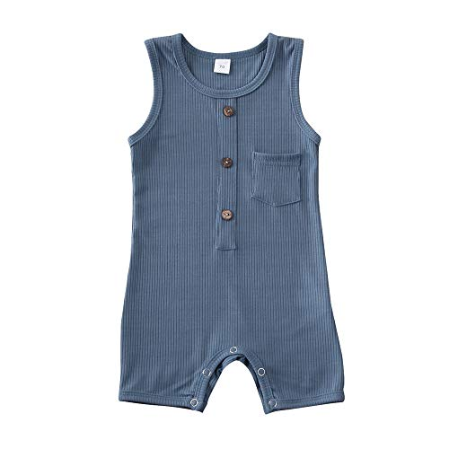 iddolaka Newborn Summer Baby Boy Girl Romper Bodysuit Jumpsuit Playsuit One Piece Outfit Clothes (Blue, 6-12 Months)