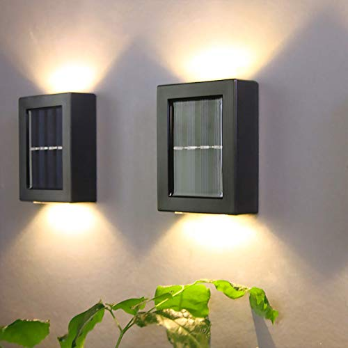 2PC Solar Wall Lamp Light Up and Down Garden Decorative, Solar Sensor Security Lights, LED Square Up and Down Lights, Outdoor Wall Light for Garden,Patio,Yard