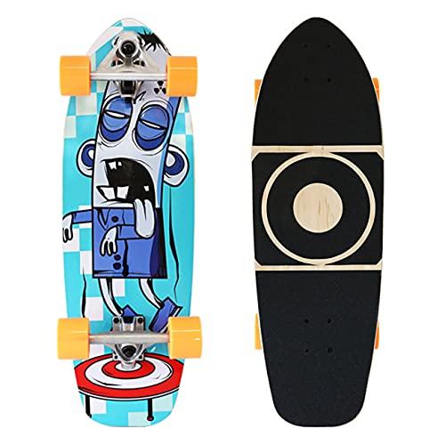 ZBYL Skateboards para Principiantes Monopatin Completa de Madera de Arce Surfskate Carving Pumpping Surf Skate Cruiser Boards 74x24cm, Rodamientos de Bolas ABEC-9 y Ruedas 78A