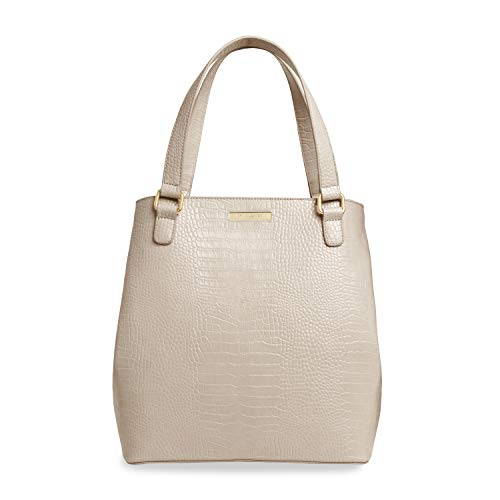 Katie Loxton Celine Faux Crocodile Vegan Leather Zippered Shoulder Tote Bag Oyster Grey