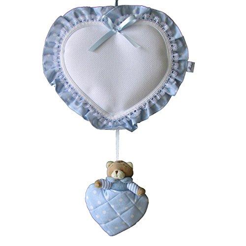 fiocco nascita cuore con orsetto (azzurro)