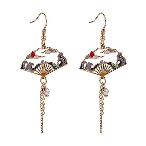 PPuujia Pendientes de estilo chino plegable de estilo étnico con borla larga asimétrica, diseño de carpa y loto (color de metal: 3)