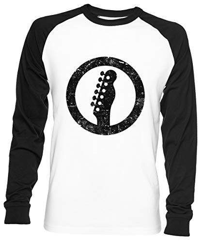 Telecaster Kop, Wit Unisex Mannen Dames Honkbal T-shirt Wit Unisex Men Women Baseball T-shirt White